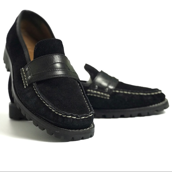 c0eea74e620 Cole Haan Shoes - Cole Haan Black Suede Penny Loafers Lug Sole